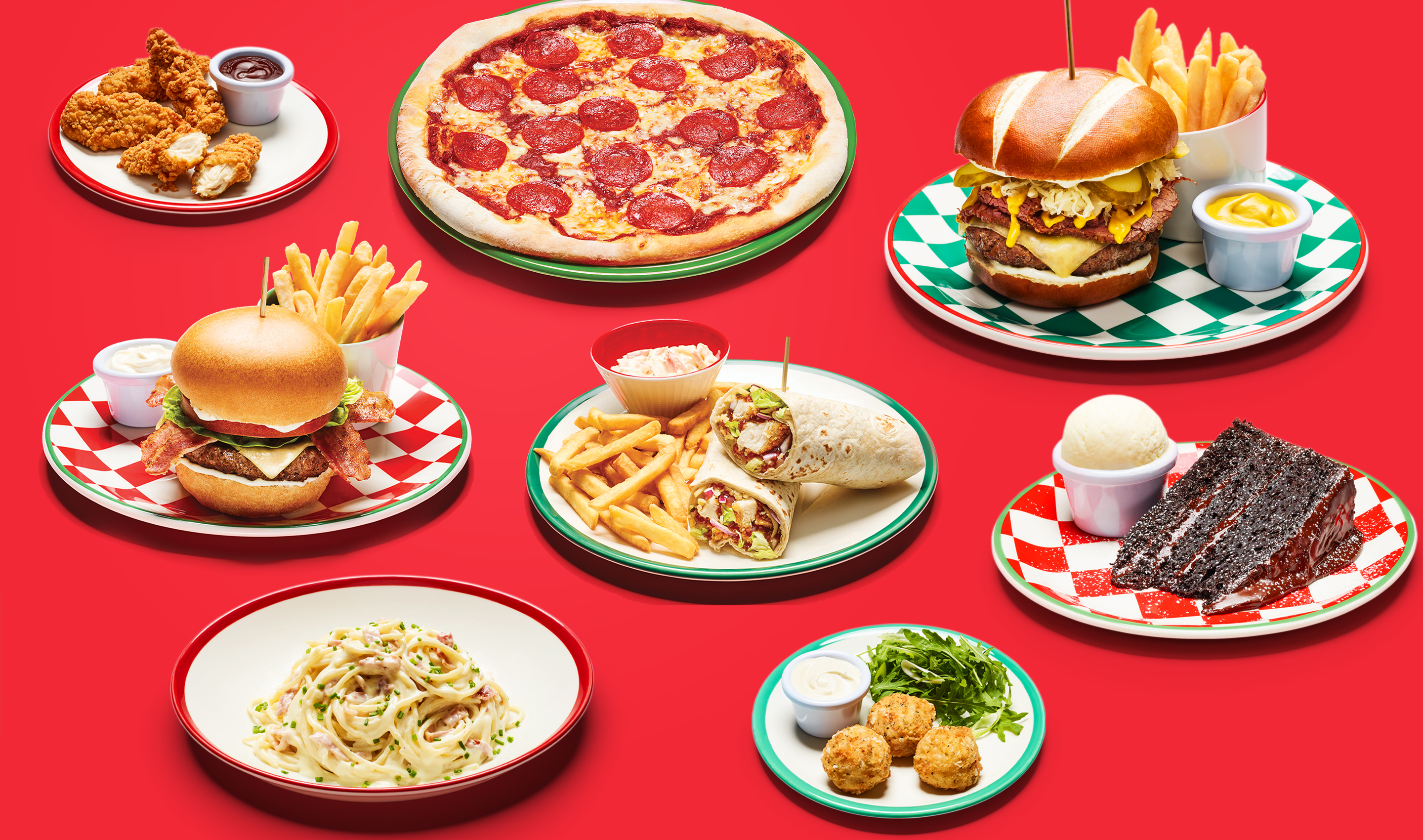 Food - Burger - Frankie & Benny's - Pizza - Chips - Pasta - Cake - Chocolate