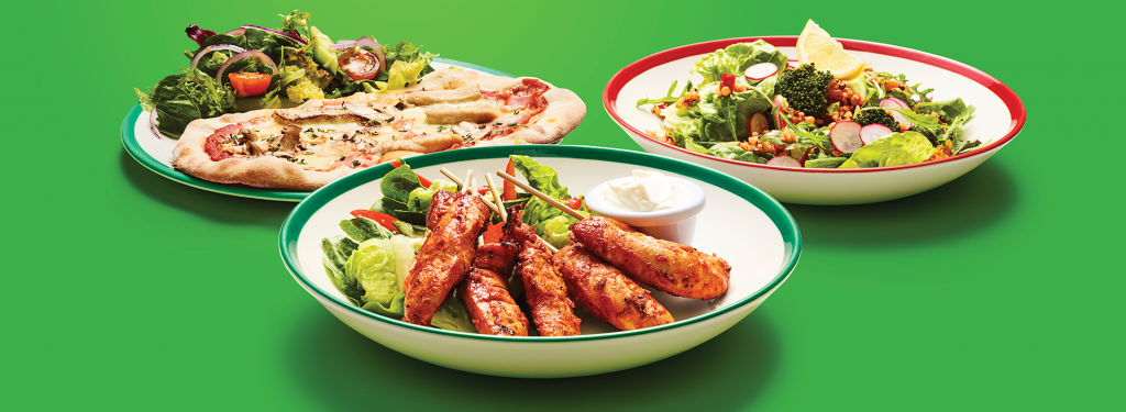 Feel Good Range - Hero Dishes - Chicken Skewers - Skinny Pizza - Summer Salad