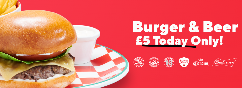 Burger & Beer for £5 at Frankie & Benny's, Budweiser, Corona, Hope House 13, Coors Light, Brooklyn Brewery, Samuel Adams